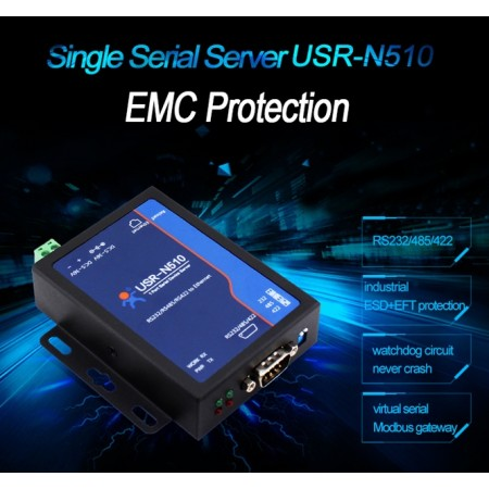 Industrial Serial to Ethernet Converter, 1x RS232/RS484/RS422